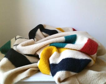 One Vintage Hudson Bay Blanket . Hudson's Bay Wool Blanket . Four Point Blanket . Home Decor . Striped Wool Throw . Rustic Cabin . Farmhouse