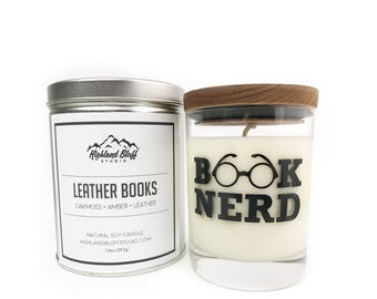 Leather Books // Oakmoss + Amber + Leather // Bibliophile Inspired Scented Soy Candle // 14oz Glass