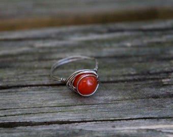 Carnelian Wire Wrapped Ring. Healing. Crystal. Gemstone. Gift. Birthday. Bridesmaid. Wedding. Anniversary. Yoga. Meditation. Yoga Jewelry.