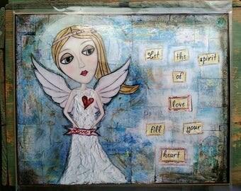 "SALE! Whimsical Print, 8"" x 10"" Inspirational Art Print, Whimsical Mixed Media Print, Sale Print, Whimsical Girl, Angel Print, Lovely Angel"
