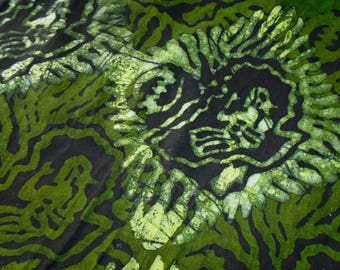 Hand Dyed Batik, Ghana Africa, Lady with Baby and African Continent Pattern, by the half yard