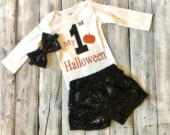 Girls My First Halloween outfit, first halloween outfit, 1st halloween onesie, baby girl halloween outfit, black orange, pumpkin outfit