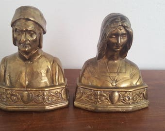 Bronze Dante and Beatrice Bookends