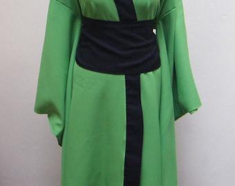 Green & Black long kimono