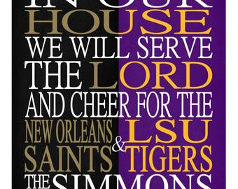 A House Divided - New Orleans Saints & LSU Tigers personalized family poster Christian gift sports art -multiple sizes