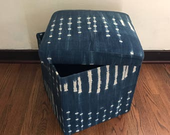 vintage african indigo blue mudcloth storage ottomancube - Storage Ottoman Cube