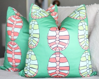 bright pillow cover // copacabana collection // cotton and quill // turtle print pillow cover // turtle decor // delta zeta // dz decor