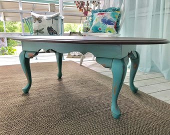 Turquoise Distressed Coffee Table ~ Farmhouse Style ~ Shabby Chic Coffee Table ~