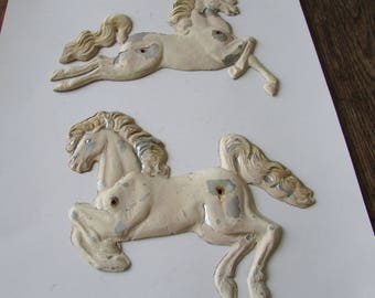 2 Vintage Shabby Metal Horses Chippy Horse