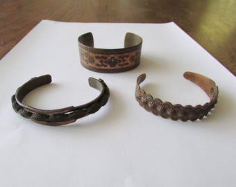 3 Vintage Copper Cuff Bracelet Trading Post Tourist Bangle Jewelry