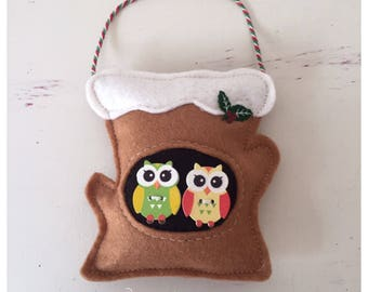 Owls in the Tree, Christmas ornament, Christmas Felt decoration, Christmas decoration, Felt decoration, christmas owls