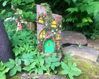 Wooden Fairy House ~ Green Door ~ Fairy Garden ~ Fairies ~