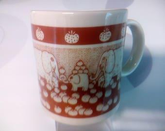Vintage 1978 Taylor & Ng Brown Elephants and Pumpkins Coffee Mug