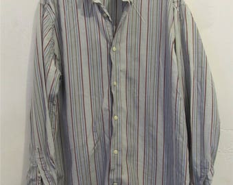 A Men's Vintage 90's,Preppy Long Sleeve STRIPED Oxford Shirt By NORTHERN ISLES.M