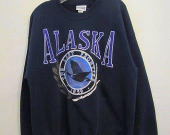 A Vintage 70's,Navy Blue ALASKA Crewneck Sweatshirt By DANAGGERS.L
