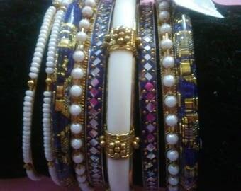 7 silver stackable bracelets