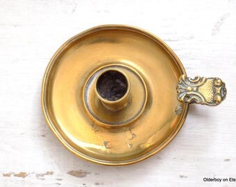 Vtg c.1800s portable brass candleholder antique candleholder collectible candleholder old vintage candle holder with tray N10/1161