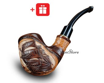 Groomsmen Gift Bachelor Party Gift Smoking Pipe SHIP Tobacco Pipe CARVED Pipe Wooden Pipe Wedding Birthday Gift Ideas Custom Engraving