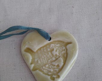 Wren Porcelain hanging heart