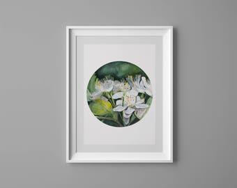 Art Print, Watercolor, Flower Art Print, Green Home Decor, Minimalist Art Print, Illustration, Giclee, Minimalist botanical flower leaves,