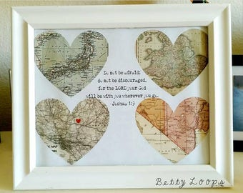 Where I've Been Heart Map. Military, PCS, Home Decor.