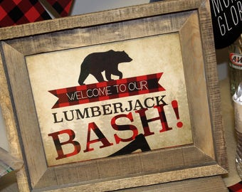 Lumberjack Party Sign, Lumberjack Birthday Sign, Flannel Party, Lumberjack Decor, Buffalo Plaid Decorations, Lumberjack Sign, DIGITAL