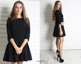 Black,feminine style,evening prom,tea party,mini,short ,babydoll,dress, little, low waist,inverted pleat,skater,embroidery, 3/4 sleeve,dress