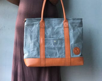 Waxed canvas bag with leather combination, Waxed canvas tote, Waxed canvas bag women, gift ideas, diaper bag, tote bag, shopper bag