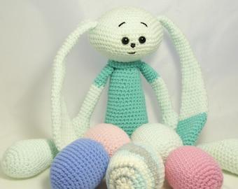 Crochet easter bunny and easter eggs. Crochet easter rabbit and easter eggs.
