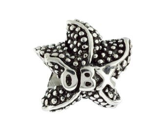 Outer Banks/OBX 3D Starfish Large Hole Silver Bead - Compatible with ALL Popular Bracelet Brands - Made in the USA! - Item #20700