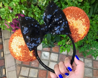 Black and Orange Sequin Halloween Mouse Ears