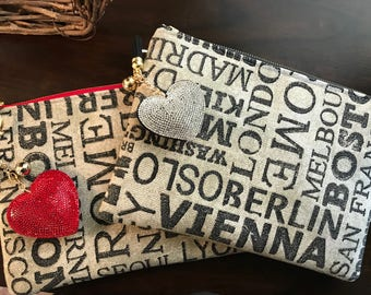 World Traveler Tote or Cosmetic Tote