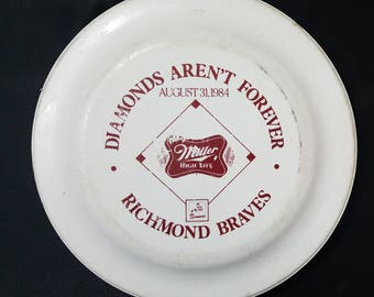 Richmond Braves Baseball 1984 Frisbee Stadium Giveaway Miller High Life Beer Sponsor Merchandise Vintage 80s FREE SHIPPING Atlanta Milb Mlb