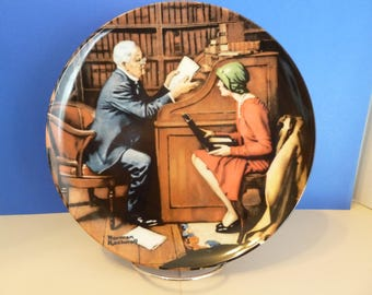 "Collector's Plate, ""The Profeesor"", A Norman Rockwell 1986 Limited Edition,  Edwin M Knowles Fine China"