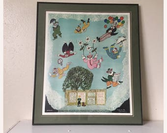 Vintage M. Falco Clown Print 'Bring on the Clowns' Retro Art - Vintage Clown Art - Framed Print - Kids Room Art