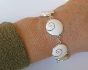 Shiva eye bracelet set in 92.5 sterling silver,adjustable from 7 to 8 inches