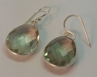 Green amethyst earrings; prasiolite,; set in sterling silver, 92.5, faceted, free shipping