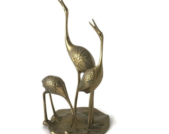 Vintage Brass Crane Family  Figurine