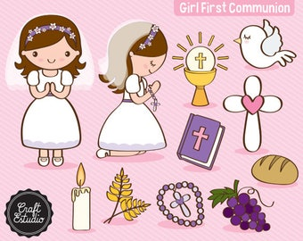 First communion, First Communion, Girl, Catholic, Instant Download, Digital Paper, Clipart, High Resolution, JPG PNG, Scrapbooking Clipart