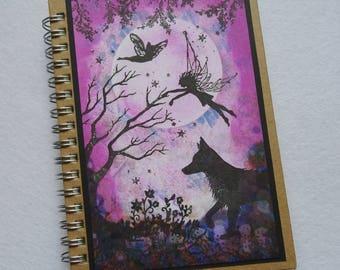 A6 Handmade Fairy Notebook, Fairy Journal,Fairysparkled Journal, OOAK fairy Notebook, Fairy and fox notebook .fantasy design.birthday gift,