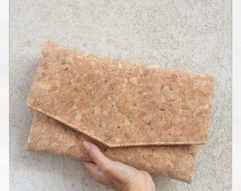 Cork clutch, vegan purse, envelope clutch, cork bag
