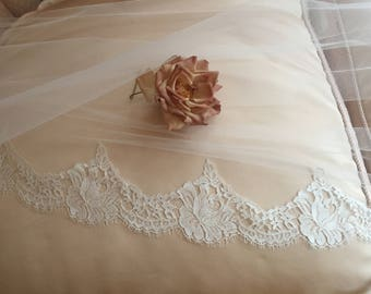 "Authentic French Chantilly Lace Motif on Illusion Tulle, Sample, 4"" Motif -  Silk White or Ivory also Lace By Yard"