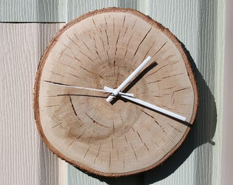 wood slices natural birch Wall Clock - Natural Home Décor Live edge wood clock made from birch, mother's day gift birthday gift for her him