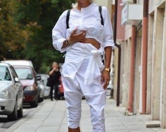 White Cotton Loose Wide Pants, Extravagant Harem Pants, Drop Crotch Trousers, High Waist Pants by SSDfashion