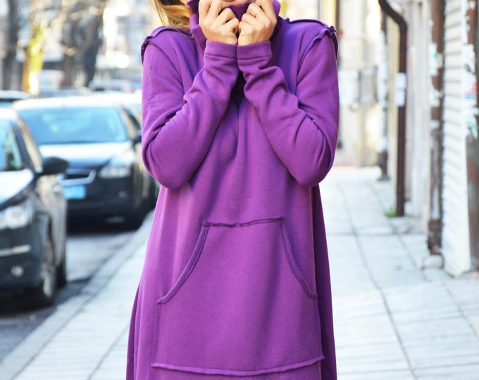 Wadding Maxi Turtleneck Dress, Loose Fitting Long Purple Dress, Extravagant Plus Size Dress With Pocket by SSDfashion