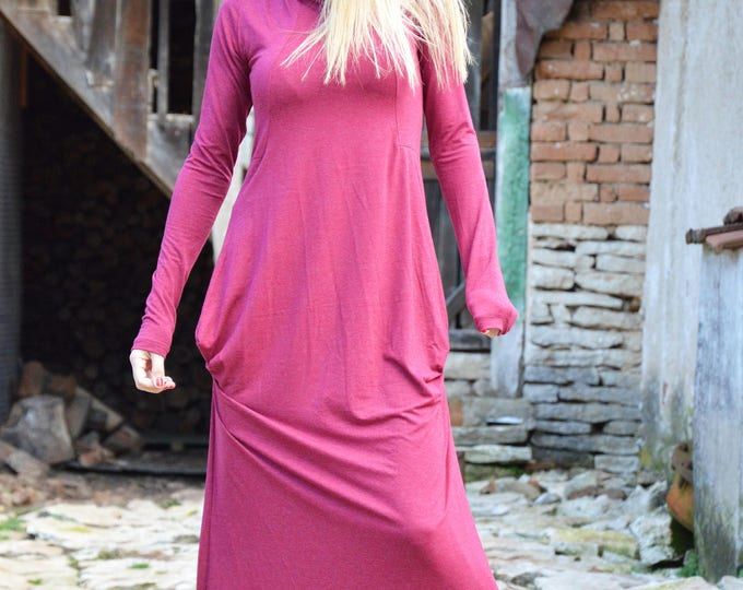 Womens Kaftan Turtleneck Dress, Extravagant Long Dress, Maxi Plus Size Clothing, Loose Soft Dress by SSDfashion