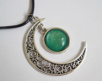 Crescent moon necklace green glitter glass pendant handmade