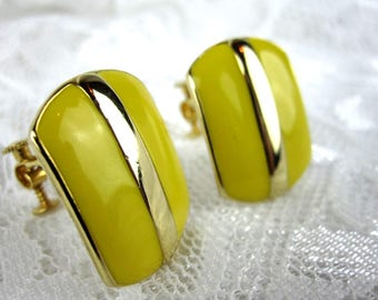Napier Yellow Clip Earrings With Gold Band, Women's Vintage Combination Screw Back and Clip On Earrings