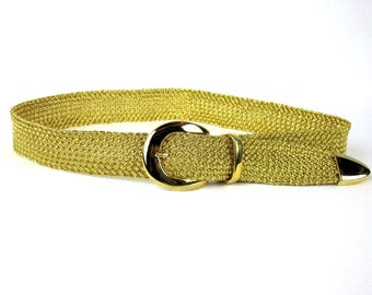 Vintage Gold Metallic Braided Women's Belt Signed Ribco USA, 1980s Dressy Belt With Gold  Buckle