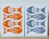 Retro Fish Greeting Card, Fathers Day Card, Fish Birthday Card, Hand Screen Printed Card, Funky Fish Card, Beautiful Fish Card